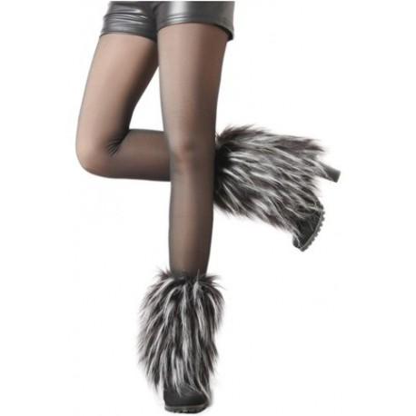 Cache-bottes Shaggy Courtes pelage noir et blanc