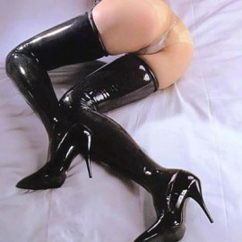 Sexy bas Latex-spandex Black