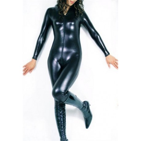 Catsuit glossy noir