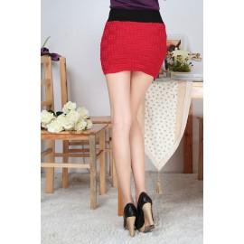 Mini Jupe en Laine Rouge
