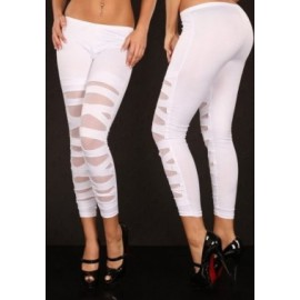 White Lame Leggings