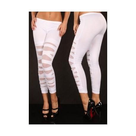 White Lame Leggings