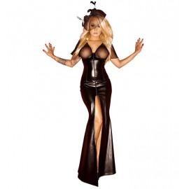 Robe Divine Longue en PVC et Voile Noire