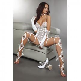 Ensemble lingerie blanc dentelle et laçages