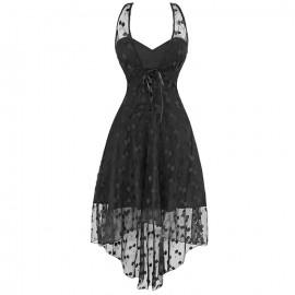 Robe asymétrique stretch et dentelle noire