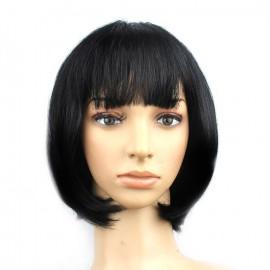Perruque cheveux noirs coupe carré court à frange